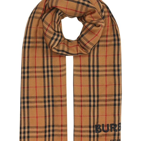 Burberry Embroidered Vintage Check Cashmere Scarf